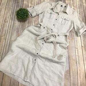 Saks Fifth Avenue | Cream 100% Linen Dress 10